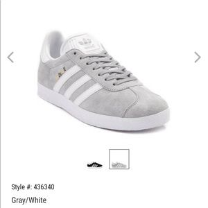 Womens adidas Gazelle Athletic Shoe. Gray/white. 6